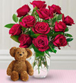 Dozen Roses with a Bear