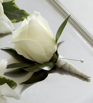 The FTD� White Rose Boutonniere