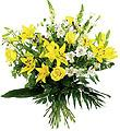 Bouquet of Long Stemmed Flowers Yellow and White Colors